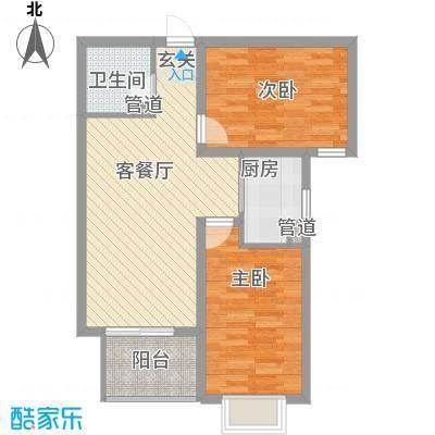 麒麟国际87.79㎡麒麟国际户型图1#B户型2室2厅1卫1厨户型2室2厅1卫1厨