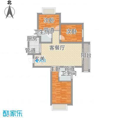 北辰商务花园108.72㎡户型3室1厅2卫1厨