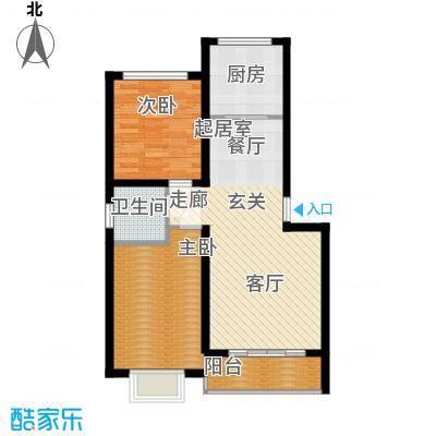 彼岸86.40㎡C户型二室二厅一卫86.4户型2室2厅1卫