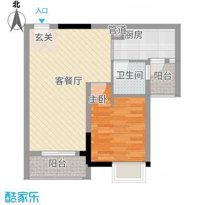 GOGO Park万荟时代户型图4栋琥珀之光 1室2厅1卫1厨