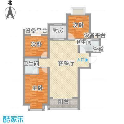 北辰商务花园115.18㎡高层B户型3室2厅2卫1厨