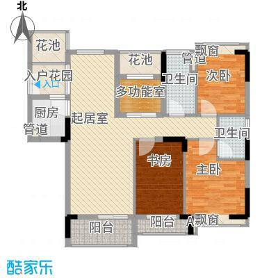 睿山122.61㎡D栋标准层01户型3室2厅2卫1厨