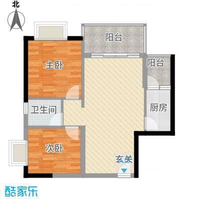 星汇峰户型图C座3栋01单元户型图 2室2厅1卫1厨