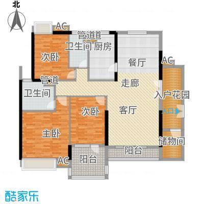 天寿大厦163.68㎡24-33层03单位户型3室2厅2卫1厨