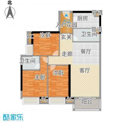 天寿大厦121.24㎡24-33层02单位户型3室2厅2卫1厨