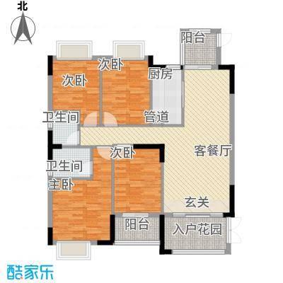 睿山140.00㎡A栋01单元户型4室2厅2卫1厨