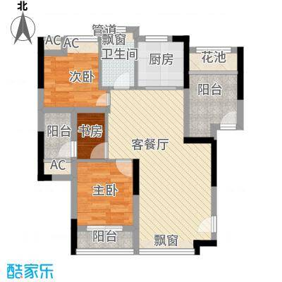 翠屏领东天河86.72㎡C栋03户型3室2厅1卫1厨