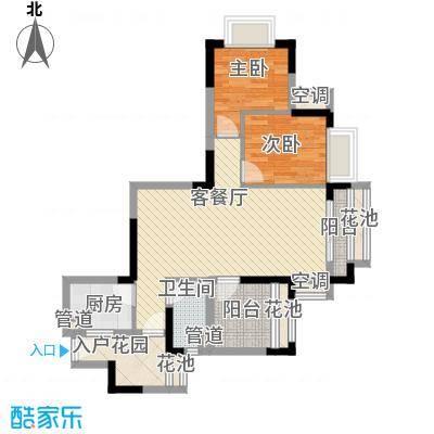 翠屏领东天河88.28㎡c栋06户型2室2厅1卫1厨