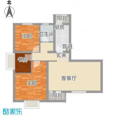 美林海岸花园碧水轩3室2厅户型3室2厅1卫1厨