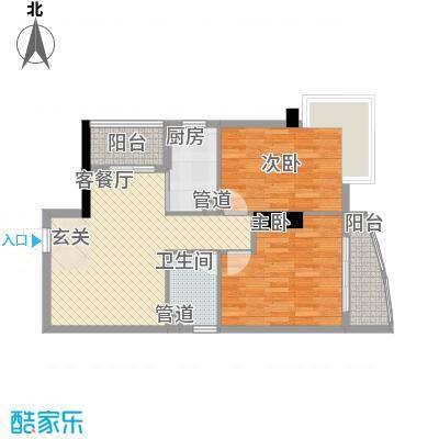 中强雅苑80.00㎡1608单位户型2室2厅1卫1厨
