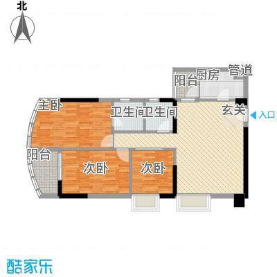 中强雅苑109.67㎡北塔04单元户型3室2厅2卫1厨