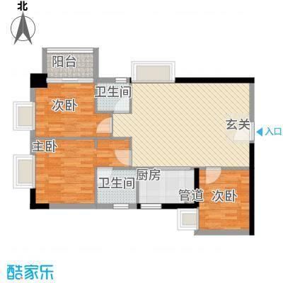 中强雅苑96.00㎡1607单位户型3室2厅1卫1厨