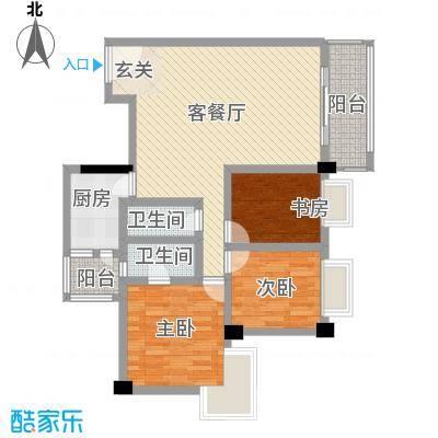 骏逸苑107.00㎡3室2厅户型3室2厅2卫1厨
