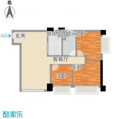 领汇国际公寓89.52㎡3室2厅户型3室2厅1卫1厨