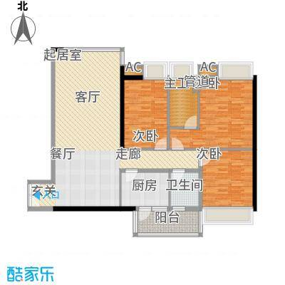新世界东逸花园蓝谷3室2厅户型3室2厅1卫1厨