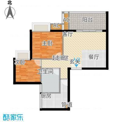 星河绿洲74.17㎡星河绿洲户型图C1栋01房2室1厅1卫1厨户型2室1厅1卫1厨