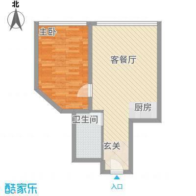 万菱君临国际公寓63.28㎡万菱君临国际公寓户型图06单元1室2厅1卫1厨户型1室2厅1卫1厨
