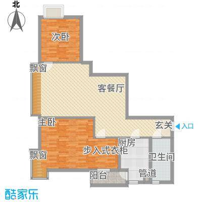 荟锦81.00㎡2-13层05/14-17层03户型2室2厅1卫1厨
