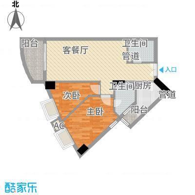 荔景华庭85.22㎡A栋14-15层02户型2室2厅2卫1厨