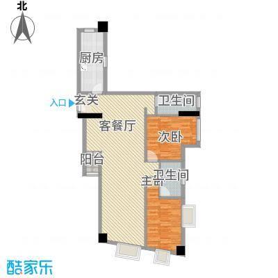 荔景华庭111.53㎡A栋14-15层01户型2室2厅2卫1厨