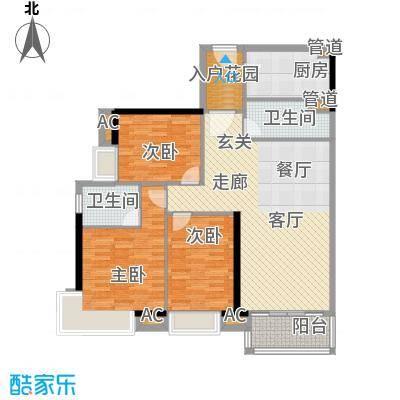 天寿大厦118.24㎡3-23层02单位户型3室2厅2卫1厨