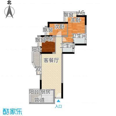 江湾水恋98.32㎡98.32㎡单元户型3室2厅2卫1厨