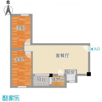 华丽楼65.00㎡2室2厅户型2室2厅1卫1厨