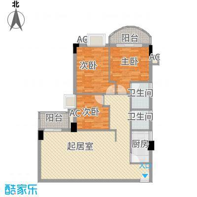 君怡大厦3室2厅户型3室2厅2卫1厨
