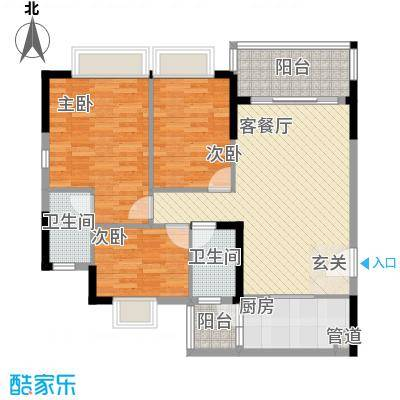 东山领汇广场3室2厅户型3室2厅2卫1厨