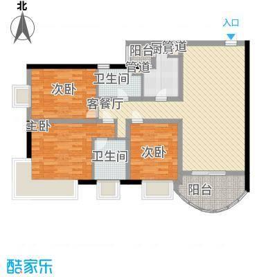 金宝怡庭117.06㎡新贵之旅户型3室2厅2卫1厨