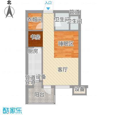 金隅时代城55.00㎡金隅时代城户型图S6平层公寓1室1厅1卫户型1室1厅1卫