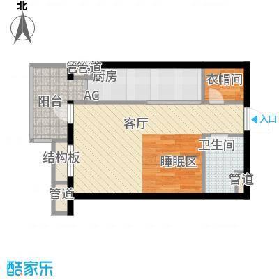 金隅时代城55.00㎡金隅时代城户型图S3平层公寓1室1厅1卫户型1室1厅1卫