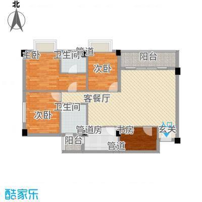 明月东山127.00㎡明月东山户型图三号-现代欧式样板间3室2厅2卫1厨户型3室2厅2卫1厨
