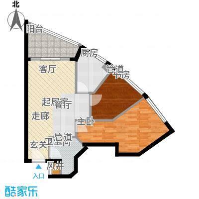幸福立方60.00㎡幸福立方户型图06单位2室2厅1卫1厨户型2室2厅1卫1厨