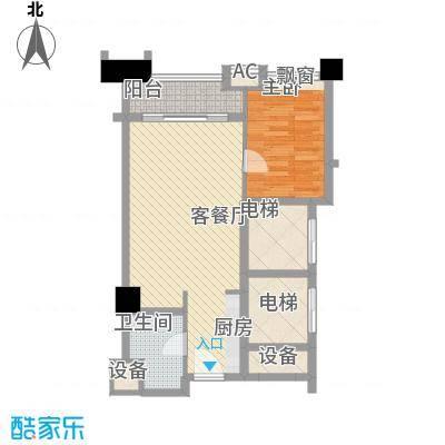 恒大雅苑户型图1号公寓D户型 1室1厅1卫1厨