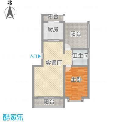翔宇盛乐新城户型图三期阳光名筑D2户型 1室2厅1卫1厨