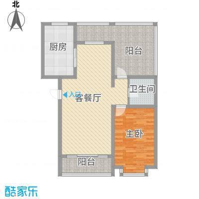 翔宇盛乐新城户型图三期阳光名筑C2户型 1室2厅1卫1厨