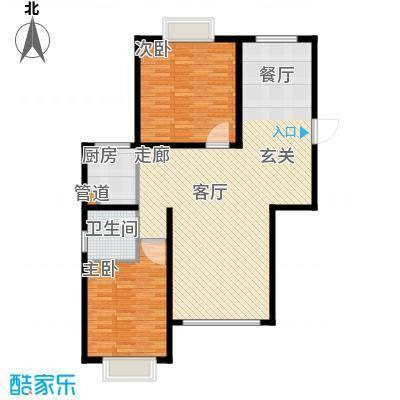 澳华城市花园户型图18号楼西户 2室2厅1卫1厨