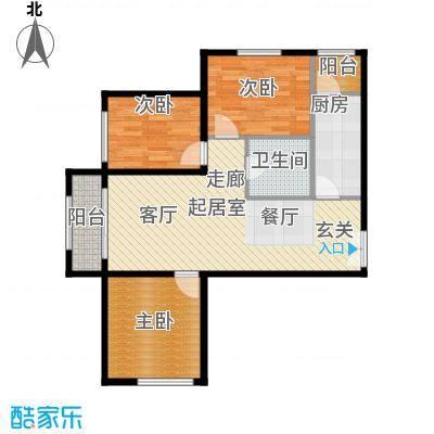 天昱自由度户型图E户型 3室2厅1卫1厨