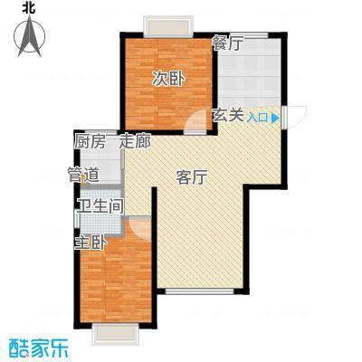 澳华城市花园户型图18号楼C户型 2室2厅1卫1厨