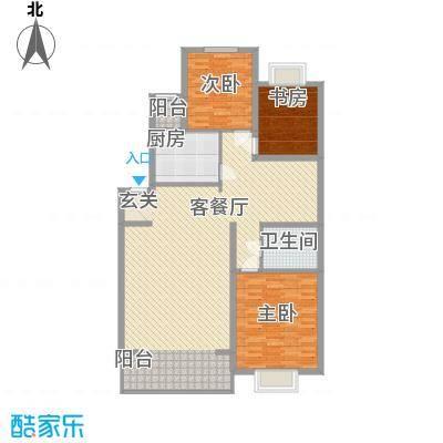 恒富安花园户型图C户型 3室2厅1卫1厨