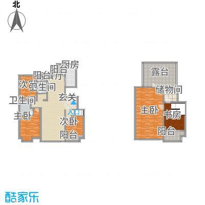 亿利傲东国际户型图E2E3跃层 5室2厅2卫1厨