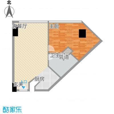 万菱君临国际公寓87.65㎡万菱君临国际公寓户型图18单元双数层1室2厅1卫1厨户型1室2厅1卫1厨