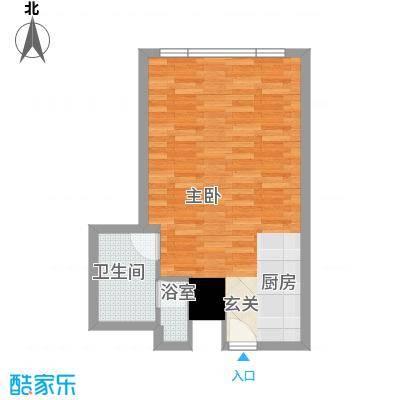 万菱君临国际公寓53.58㎡万菱君临国际公寓户型图08单元1室1厅1卫1厨户型1室1厅1卫1厨