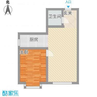 雅格花园户型图B3 1室2厅1卫