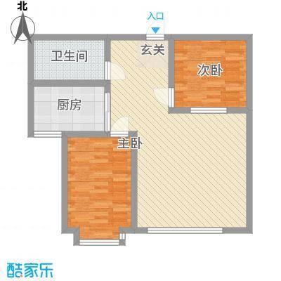 雅格花园户型图A2 2室1厅1卫1厨