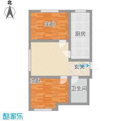雅格花园户型图B1 2室1厅1卫1厨