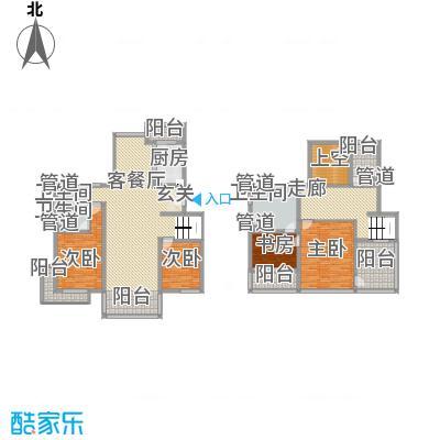 亿利傲东国际户型图跃层户型图 3室2厅3卫1厨