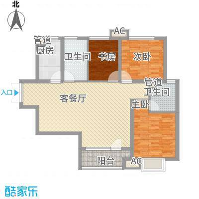 亿科公元2010户型图D户型 3室2厅2卫1厨