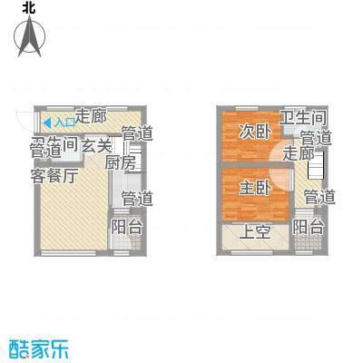 亿科公元2010户型图loft-f户型 2室1厅1卫1厨